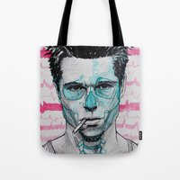 tyler spangler Tote Bags featuring Tyler Durden by Bronsolo