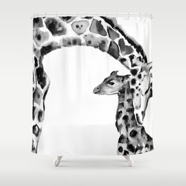 Black and white giraffes Shower Curtain