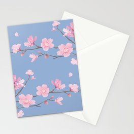 Square - Cherry Blossom - Serenity Blue Stationery Cards