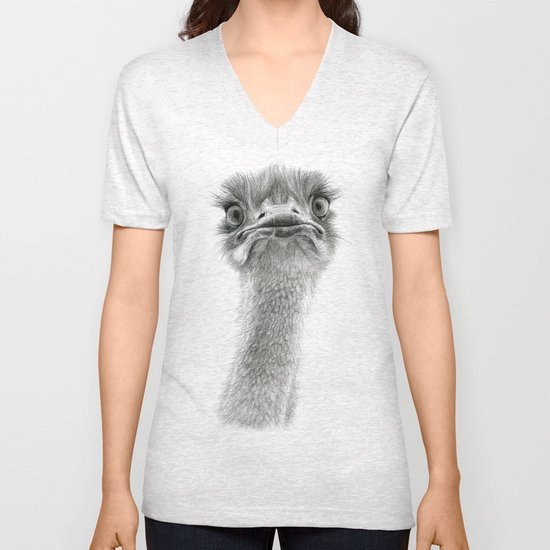 Cute Ostrich SK053 Unisex V-Neck