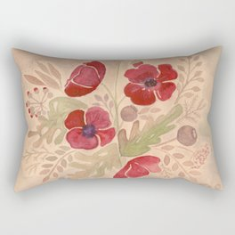 Watercolor poppies on old paper . Rectangular Pillow