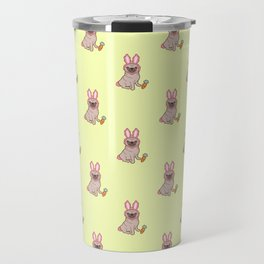 Pug dog in a rabbit costume pattern Travel Mug