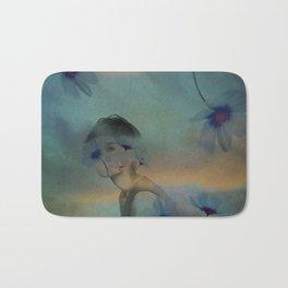 Woman hidden in a world of flowers Bath Mat
