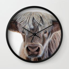 Highland Cow Acrylic Painting Wall Clock