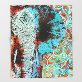 Indian Sketch Elephant Blue Orange Throw Blanket