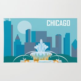 Chicago, Illinois - Skyline Illustration by Loose Petals Rug