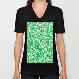 Small Spots - White and Dark Pastel Green Unisex V-Neck