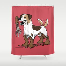 Good Boy Finds Nasty Stuff Shower Curtain
