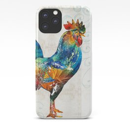 Colorful Rooster Art by Sharon Cummings iPhone Case