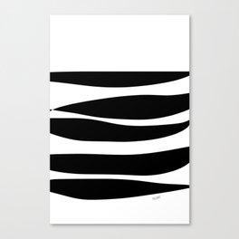 Irregular Stripes Black White Waves Art Design Canvas Print