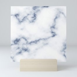 Marble White & Blue Mini Art Print