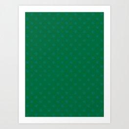Teal Green on Cadmium Green Snowflakes Art Print