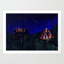 Shelters in the forest Art Print