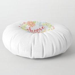 Choose Joy | Floral Feather Berries Rosehips Leaves Border Floor Pillow