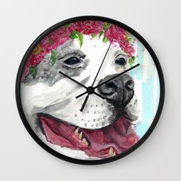 Puppy In Pink Wall Clock