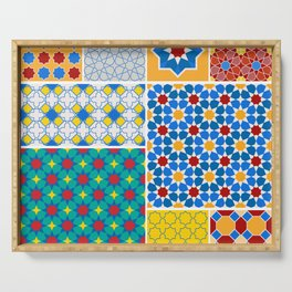 Moroccan pattern, Morocco. Patchwork mosaic with traditional folk geometric ornament. Tribal orienta Serving Tray