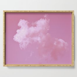 Floating cotton candy with pink Serving Tray