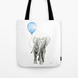 Baby Animal Elephant Watercolor Blue Balloon Baby Boy Nursery Room Decor Tote Bag