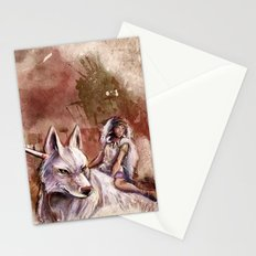 Miyazaki's Mononoke Hime - San and the Wolf TraDigital Painting Stationery Cards