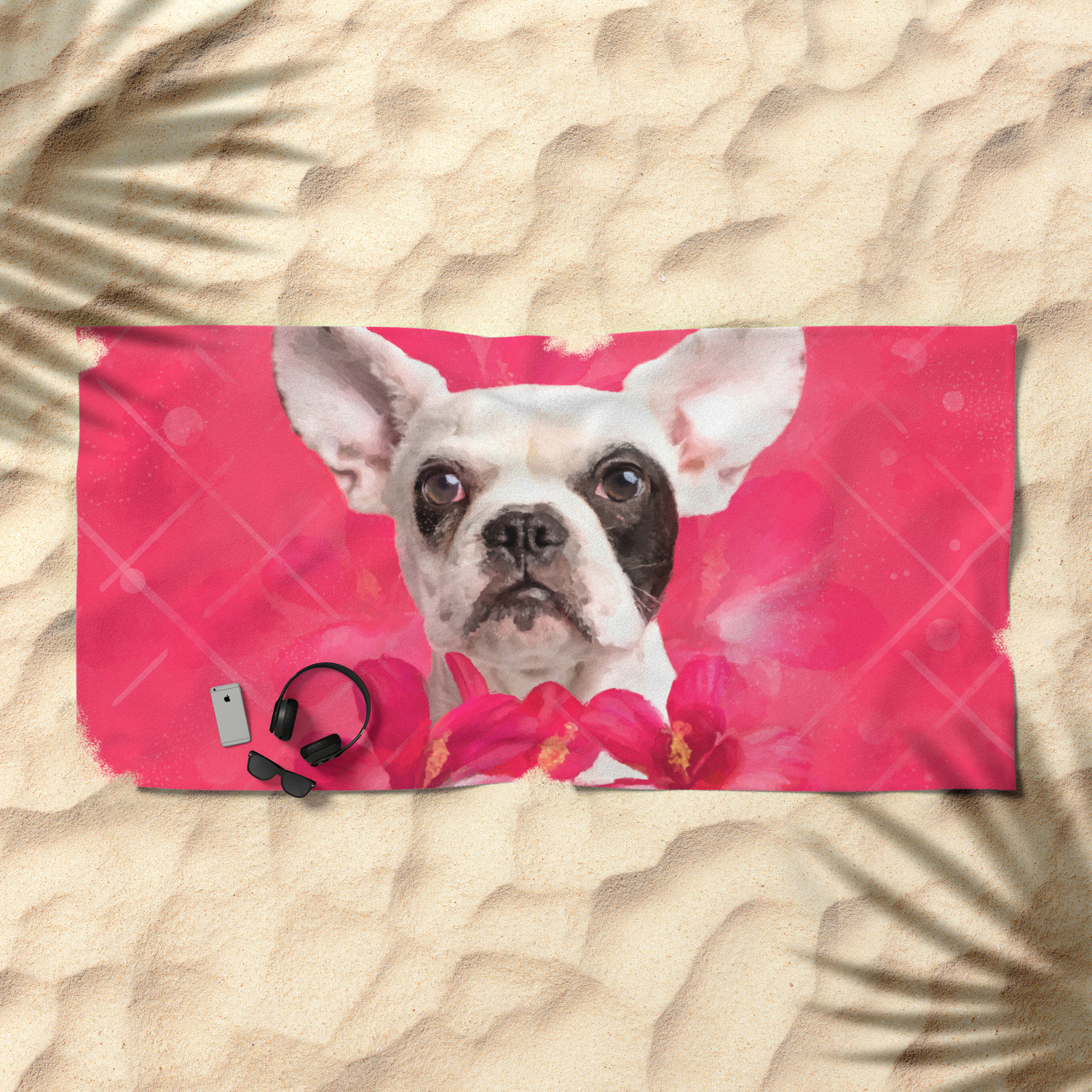Cute French Bulldog Frenchie Puppy With Flowers Beach Towel By K9printart Society6