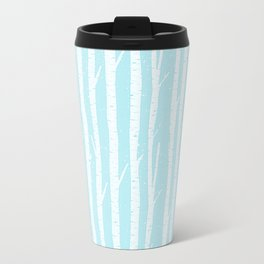 White winter birch forest- With snow covered trees- pattern on teal Metal Travel Mug