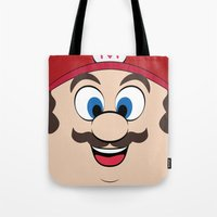 super mario Tote Bags featuring Super Mario by Shakeel