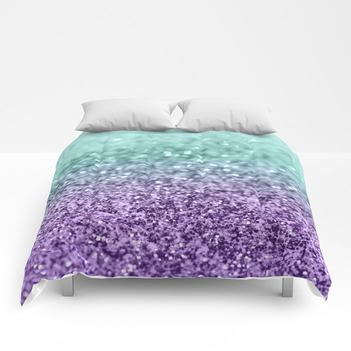 Mermaid Girls Glitter #9 #shiny #decor #art #society6 Comforters