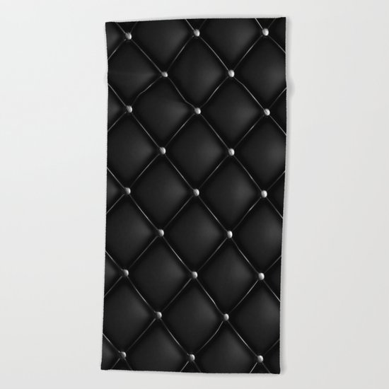 Black Quilted Leather Beach Towel