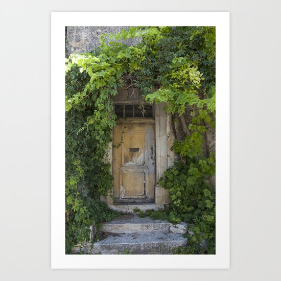 Provence Door covered with green vines Art Print