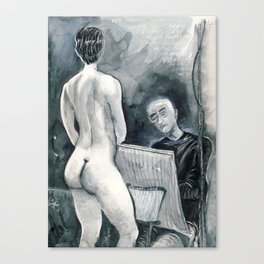 The Old Tired Artist and His Model Canvas Print