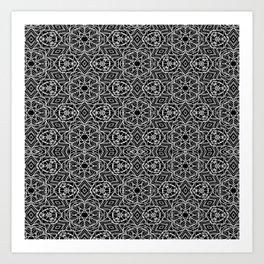 Black and white mystical Kaleidoscope 5010 Art Print