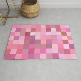 Lovely Pink Geometric Squares Pattern Rug
