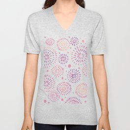 Abstract watercolor sparkles – pastel pink and ultra violet Unisex V-Neck