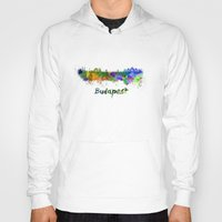 budapest Hoodies featuring Budapest skyline in watercolor by Paulrommer