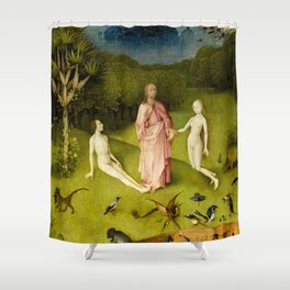 The Garden of Earthly Delights, Left Panel by Hieronymus Bosch Shower Curtain