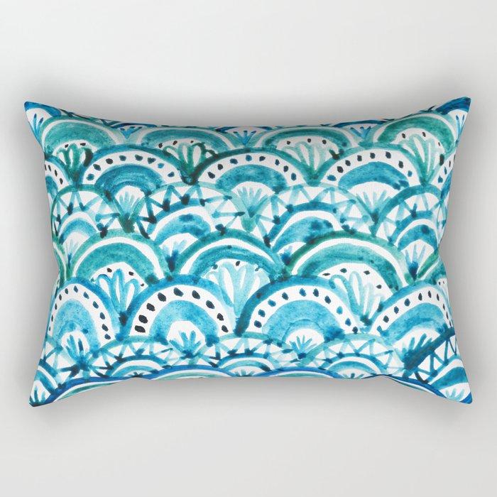 Blue Watercolor Mermaid Pattern Rectangular Pillow