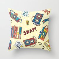 cameras Throw Pillows featuring Cameras by Claire Lordon