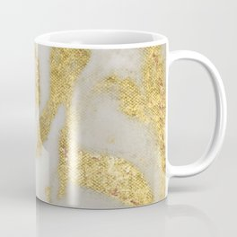 Marble - Swirled Shimmer Gold Marble Yellow on White Marble Coffee Mug