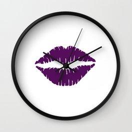 Violet Lips Kiss Wall Clock