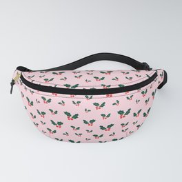 Christmas Holly Pattern On A Pink Background Fanny Pack
