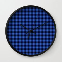 Mini Black and Royal Blue Cowboy Buffalo Check Wall Clock