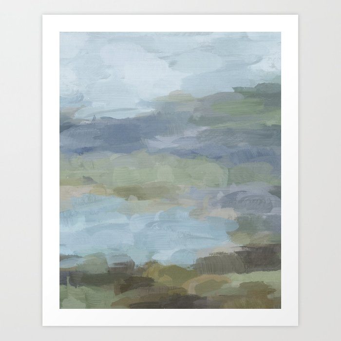 Diptych Ii Sky Gray Blue Sage Green Abstract Wall Art Painting Lake