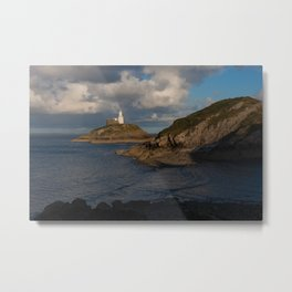 Mumbles lighthouse Swansea Bay Metal Print