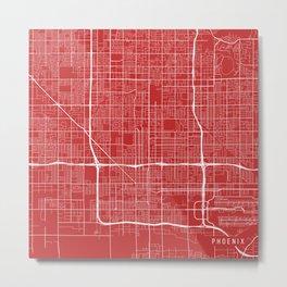 Phoenix Map, USA - Red Metal Print
