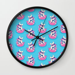 Frenchie enjoys Summer on Flamingo Pool Float in swimming pool Wall Clock