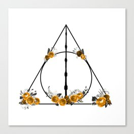 Deathly Hallows in Gold and Gray Canvas Print