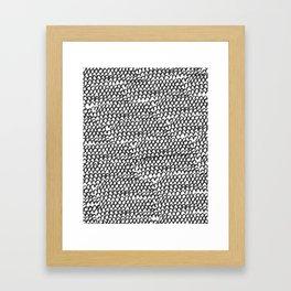 Hand painted monochrome waves pattern Framed Art Print