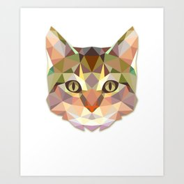Geometric Cat Face Art Print