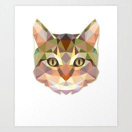 Geometric Cat Face Art Print