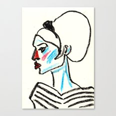 perfil girl with a red nose Canvas Print